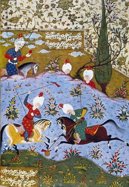 Prince playing polo, illustration from Divan-i Nevai, collected poems by Ali Sir Nevai (vellum)