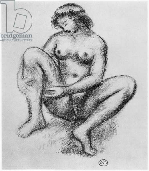Female nude (pencil & charcoal on paper) (b/w photo)