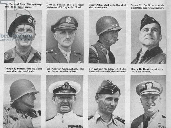 Leading American and British airforce, army and naval commanders during the Second World War in North Africa, the Mediterranean, Europe and the Far East (b/w photo)
