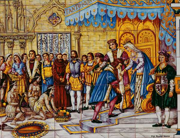 Tiles depicting the reception of Christopher Columbus by the Catholic Kings, Ferdinand of Aragon and Isabella of Castille in Barcelona on his return from America in 1492 (ceramic) (detail of 188861)