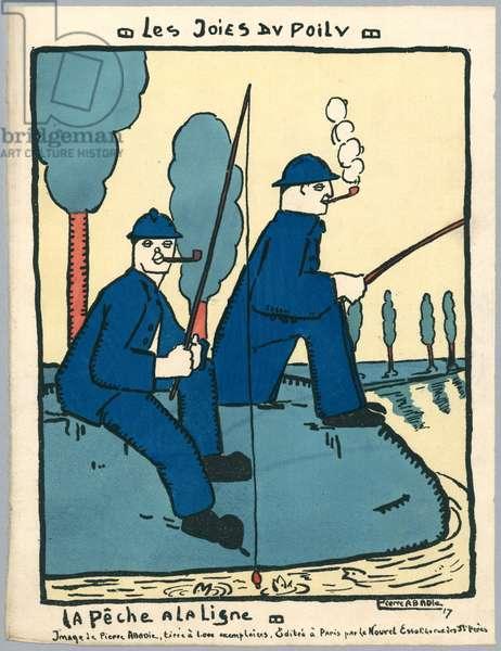 Angling, illustration from a series 'Les Joies du Poilu', Paris, 1917 (colour litho)
