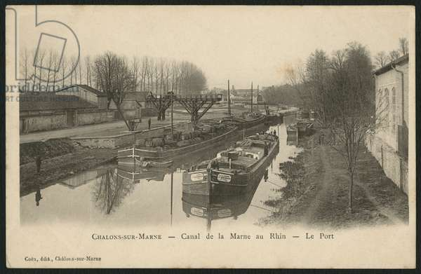 Postcard depicting the Marne-Rhine canal at Chalons-sur-Saone, c.1900 (photolitho)
