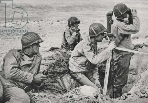 Soldiers from the American II Corps under the command of General Patton during the Tunisian Campaign, 1943 (b/w photo)