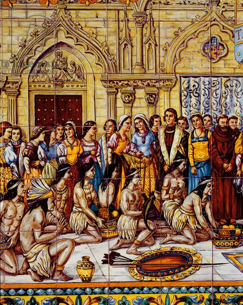 Native Americans brought in the retinue of Columbus to Spain in 1492 (ceramic)