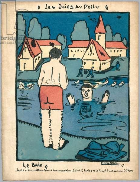 The bath, illustration from a series 'Les Joies du Poilu', Paris, 1917 (colour litho)