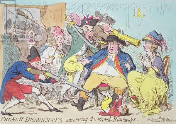 'French Democrats Surprising the Royal Runaways', 1794 (colour engraving)