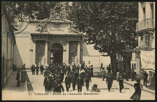 Postcard depicting the gate of the naval Arsenal, Toulon, c.1900 (photolitho)
