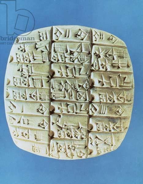 Accounts Table with cuneiform script, c.2400 BC (terracotta)