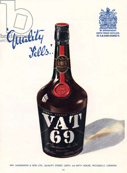 Advertisement for Vat 69 Whisky, illustration from the 'South Bank Exhibition' catalogue, Festival of Britain, London, 1951 (colour litho)