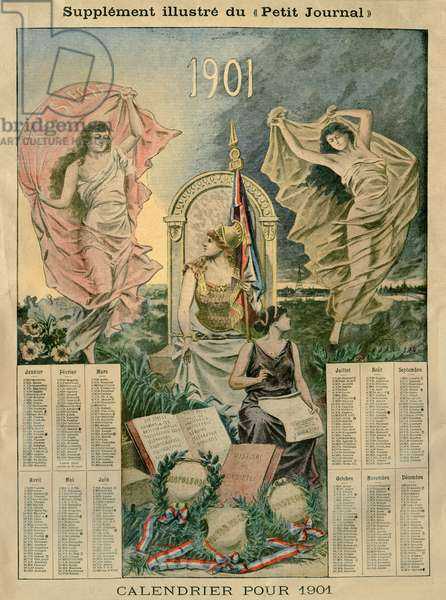 Calendar for 1901, illustration from the illustrated Supplement of the 'Petit Journal' (colour litho)