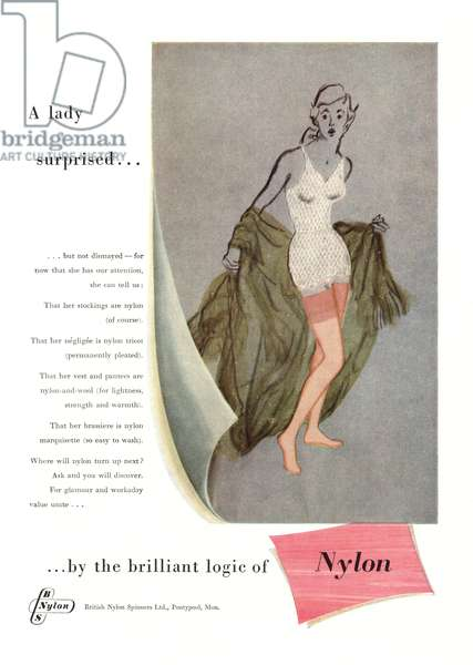 Advert for Nylon, illustration from 'Woman's Journal', October 1953 (colour litho)