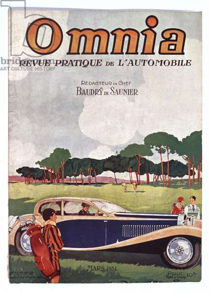 Front cover, illustration from the car magazine 'Omnia', No 166, March 1934 (colour litho)