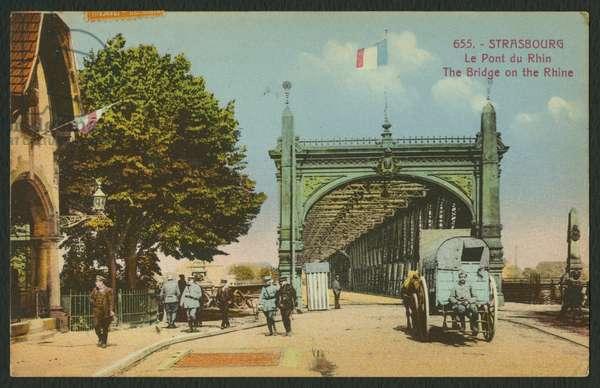Postcard depicting the bridge on the Rhine in Strasbourg, c.1914-18 (coloured b/w photo)