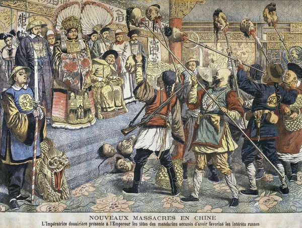 New massacres in China, Tz'U-Hsi, Empress Dowager showing to Emperor Guangxu (1875-1905) the heads of the mandarins accused of helping Russian interests, illustration from 'Le Petit Journal', 6th March 1904 (colour litho)