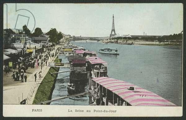 Postcard depicting the river Seine at Point-du-Jour, c.1900 (coloured b/w photo)