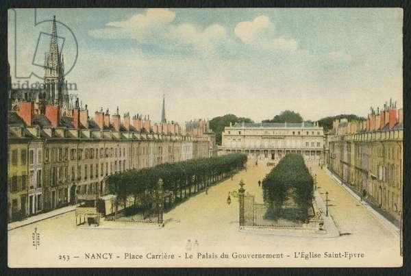 Postcard depicting the Square de La Carriere, the Palais du Gouvernement and the Church of Saint-Epvre in Nancy, France, c.1920 (coloured b/w photo)