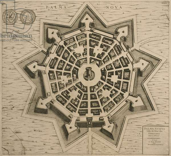 Map of Palmanova, from 'Les Villes de Venetie', 1704, published by Rutgert Alberts in the Hague (engraving)