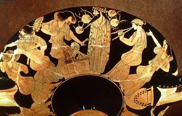 Attic red figure kylix depicting Dionysus and the Maenads, by the painter Makron, c.490-80 BC (ceramic)