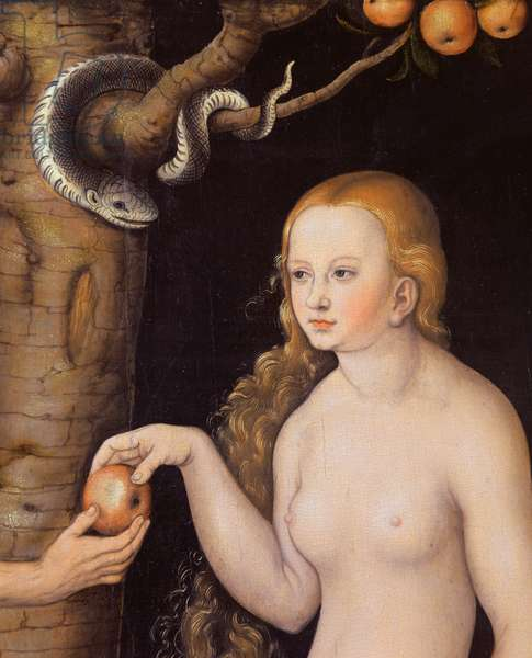 Eve offering the apple to Adam in the Garden of Eden and the serpent, c.1520-25 (oil on wood) (detail of 407328)