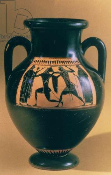 Attic black figure amphora depicting Theseus and the Minotaur, c.540-30 BC (earthenware)