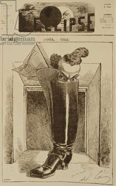 Noël, The Marseillaise in a Boot, cover illustration from 'L'Eclipse' magazine, 26th December 1868 (litho)