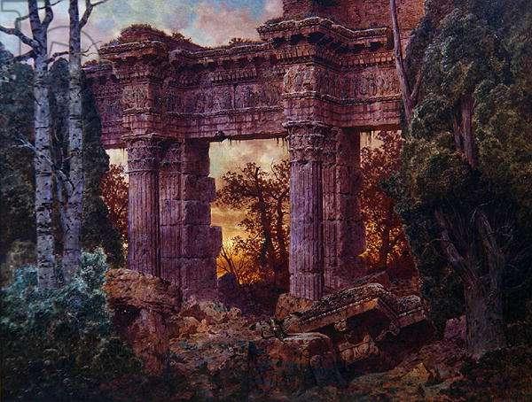Roman Ruin at Twilight (oil on canvas)
