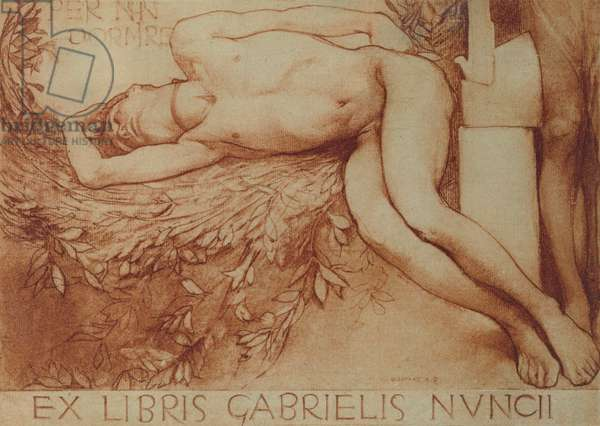 Ex Libris card for Gabriel d'Annunzio (chalk on paper)