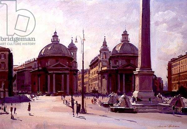Twin Churches, Piazza del Popolo, Rome, 1989 (oil on canvas)
