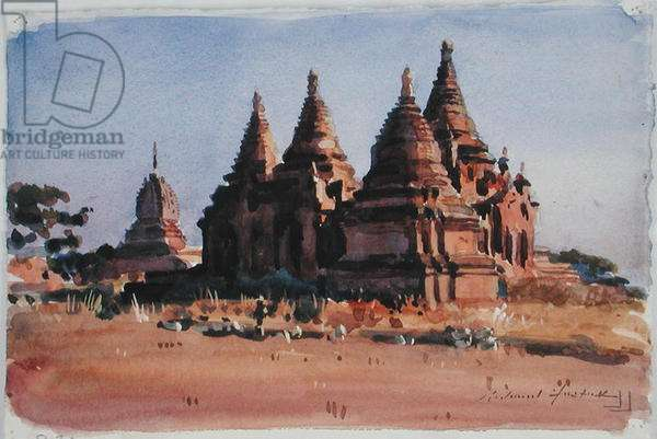 Red Pagodas (w/c on paper)