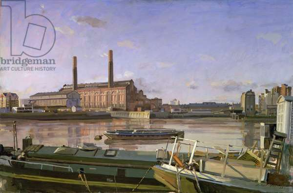 Lots Road and Barges, 1988 (oil on canvas)