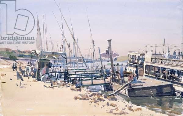 Ferry, Luxor (gouache on paper)