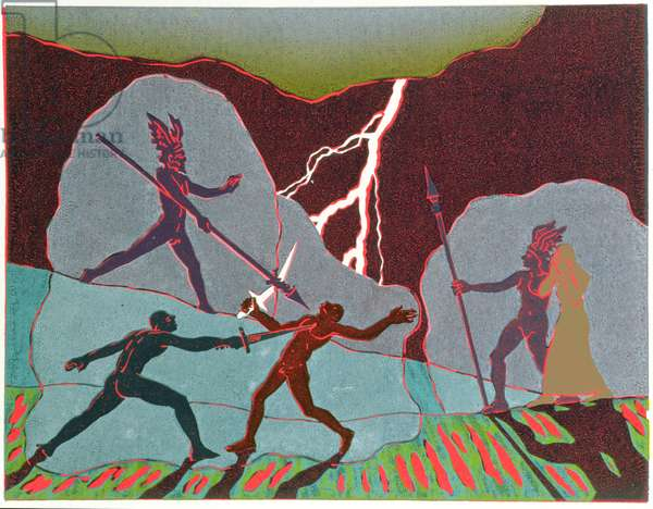 In the fight, Wotan intervenes shattering Notung; Hunding kills Siegmund: illustration for 'Die Walkure' (linocut)