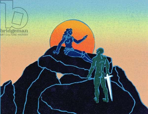 Siegfried wakens Brunhilde, illustration from 'Siegfried' (linocut)