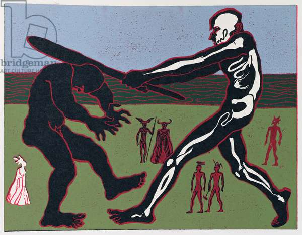 The Giants Fafner and Fasolt Fight over the Gold; Fasolt is Killed and Fafner Takes the Gold: illustration for 'Das Rheingold' (linocut)