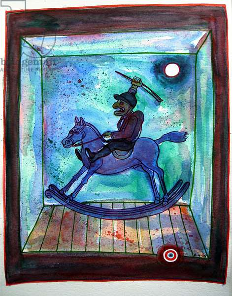 Mr Punch Rides Out, 2008 (w/c on paper)