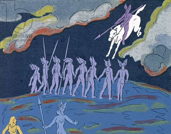 As Wotan arrives in thunderous pursuit, Brunnhilde sends Sieglinde to safety in the forest to the East: illustration for 'Die Walkure' (linocut)