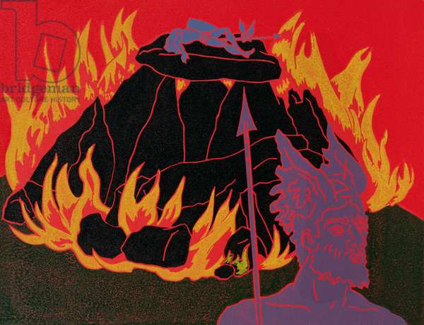 As the flames rise, Wotan sadly leaves his beloved daughter for the last time: illustration for 'Die Walkure' (linocut)