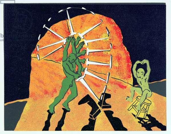 Siegfried splits the anvil with the newly re-forged Nothung, illustration from 'Siegfried' (linocut)