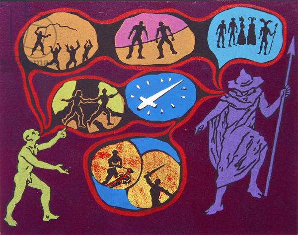 Mime exchanges riddles with Wotan the Wanderer, illustration from 'Siegfried' (linocut)