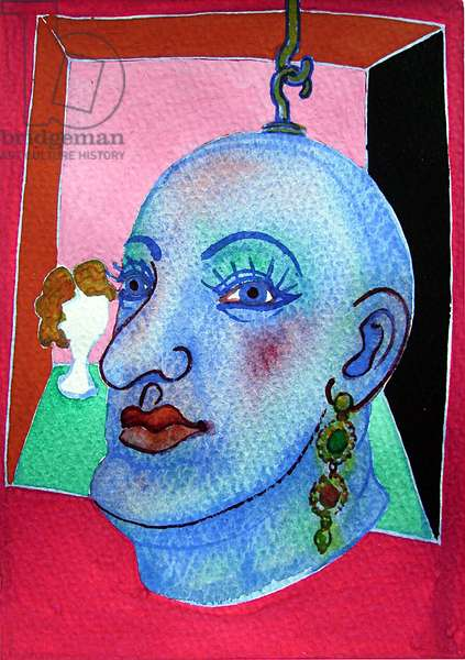 Puppet Head - Judy Resting (Bengal Rose), 2007 (w/c on paper)