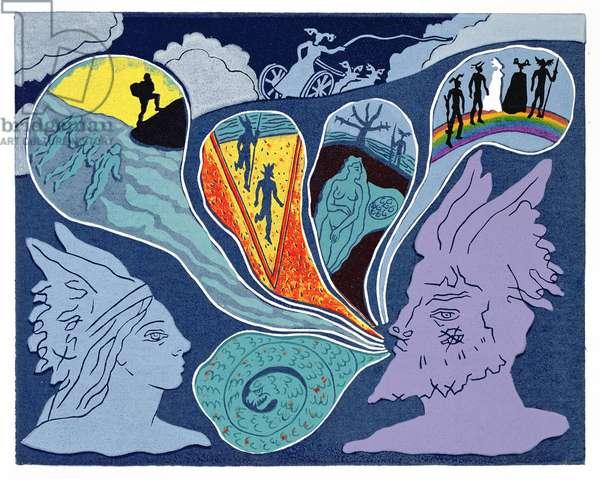 As Fricka departs, Wotan tells Brunnhilde the story of the Ring: illustration for 'Die Walkure' (linocut)