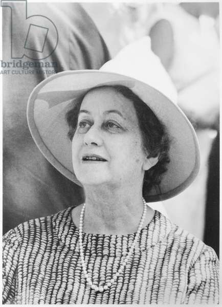 Yvonne de Gaulle (1900-79) in Tahiti, 6th September 1966 (b/w photo)