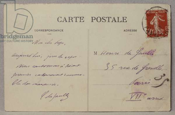 Postcard sent by Charles de Gaulle to his father Henri from Frevent, 1910 (ink on paper)