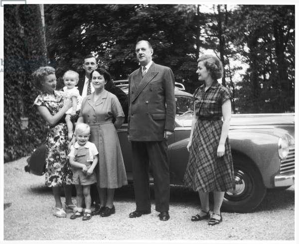 The de Gaulle family at La Boisserie, 1952 (b/w photo)