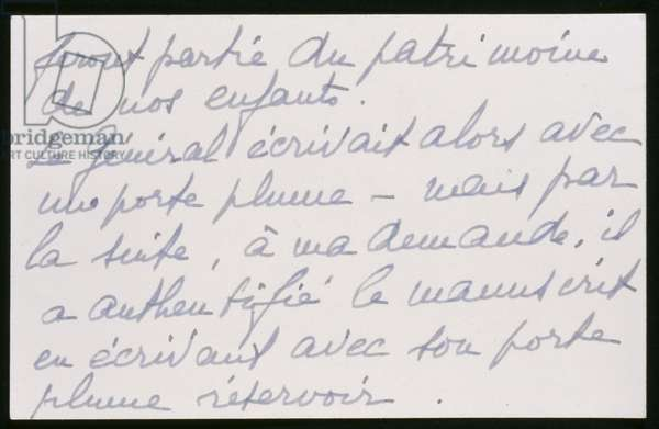 Authentification by Madame de Gaulle of the original manuscript of the 18th June 1940 address of General de Gaulle, verso (ink on paper)