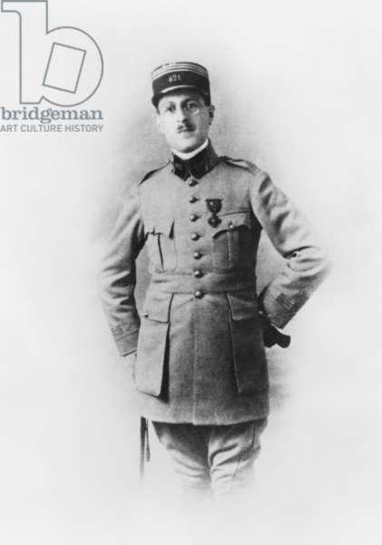 Artillery Captain Xavier de Gaulle, eldest brother of Charles de Gaulle, 1918 (b/w photo)