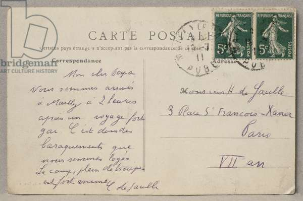 Postcard sent by Charles de Gaulle to his father Henri from the camp of Mailly, 19th July 1911 (verso) (see also 345882) (b/w photo)