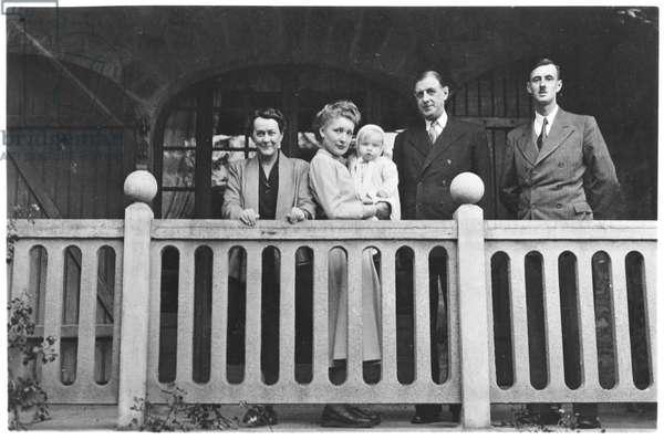 The De Gaulle Family at Morgat, near Crozon, Finistere, 1950 (b/w photo)