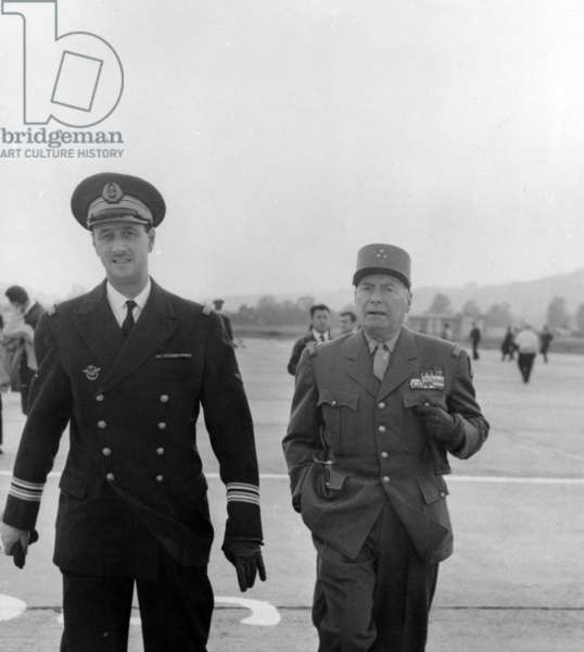 Philippe de Gaulle and Louis Dodelier at Hyères, 1964 (b/w photo)