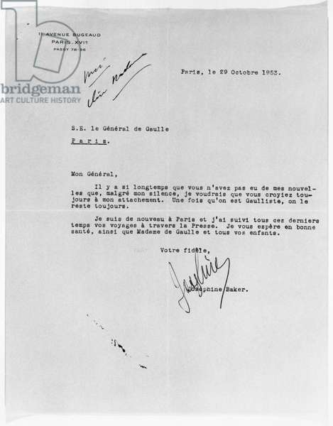 Letter to General Charles de Gaulle (1890-1970) 29th October 1953 (paper) (b/w photo)